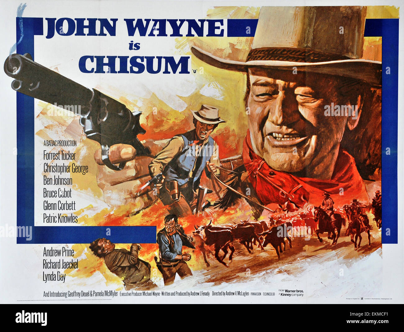 An old movie poster of 'Chisum' 1970 Warner Bros Technicolor Western film starring John Wayne - Stock Image