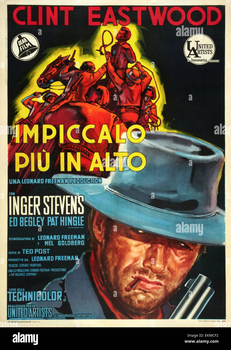 An old Italian movie poster of 'Hang 'Em High' 1968 American Western film starring Clint Eastwood - Stock Image