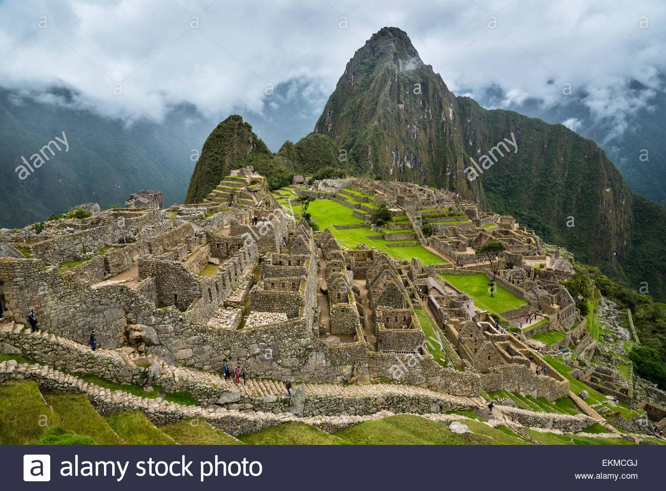 Inca ruins at Machu Picchu, Peru. Stock Photo