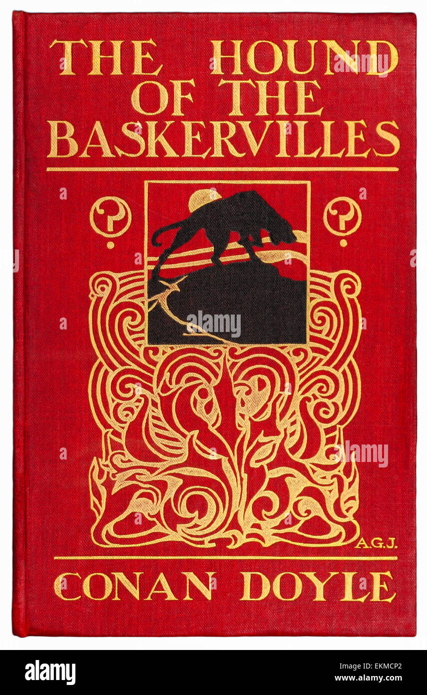 Front Cover from 1902 first edition of the novel 'The Hound of the Baskervilles' by Arthur Conan Doyle (1859 - Stock Image