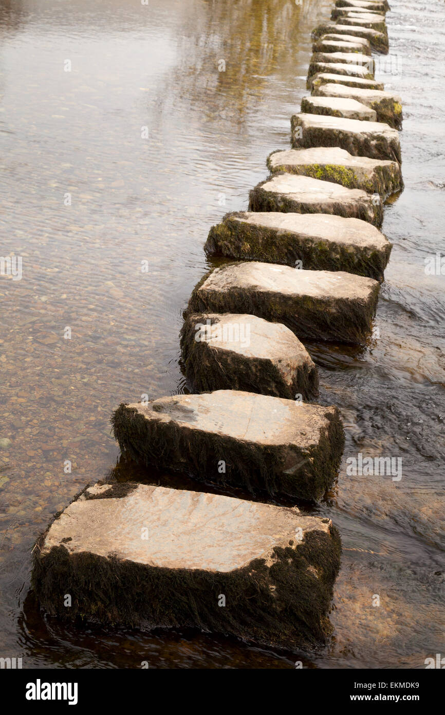 Stepping stones across a river, Yorkshire Dales near Ingleton, Yorkshire, England UK Concept - achievement, achieving, - Stock Image