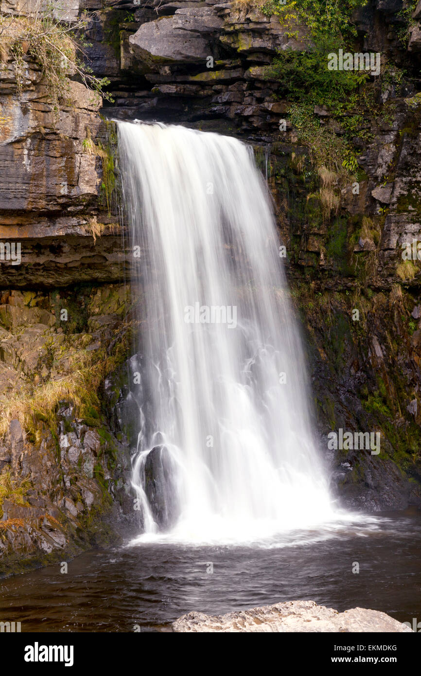 Motion blur image of Thornton Force waterfall on the river Twiss, Ingleton Waterfalls Trail, Yorkshire Dales national - Stock Image