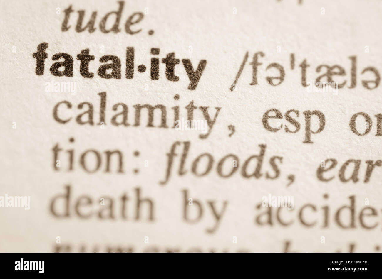 Definition of word fatality  in dictionary - Stock Image
