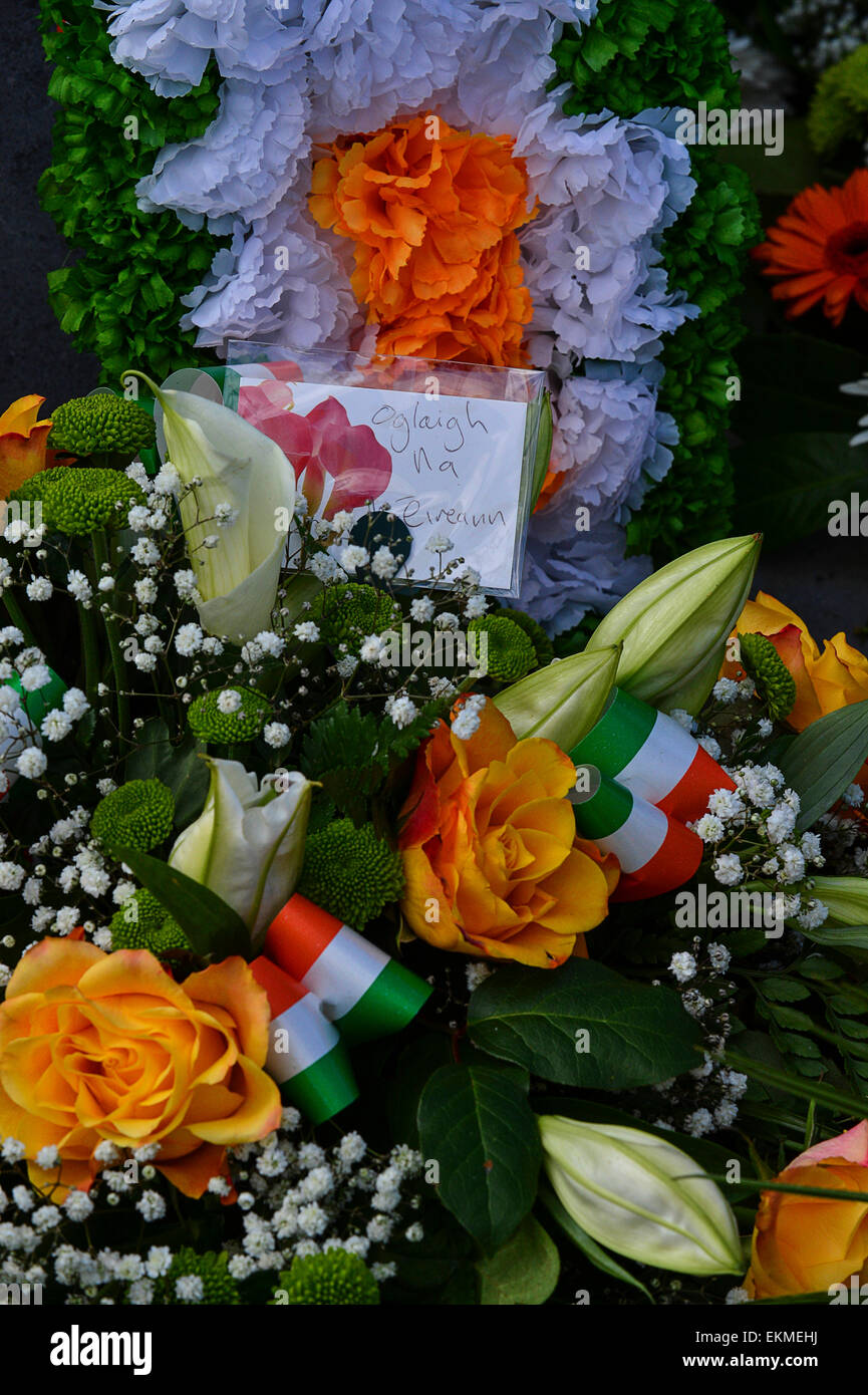 Wreath, from the IRA, at the Republican plot in the City Cemetery, Derry, Londonderry following 1916 Easter Rising - Stock Image