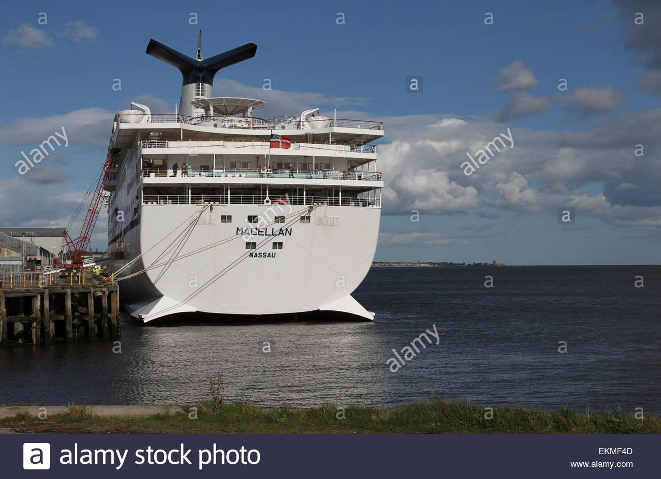 Dundee, UK. 12th April, 2015. CMV cruise ship Magellan docked in Dundee. Cruise and Maritime Voyages ship Magellan Stock Photo