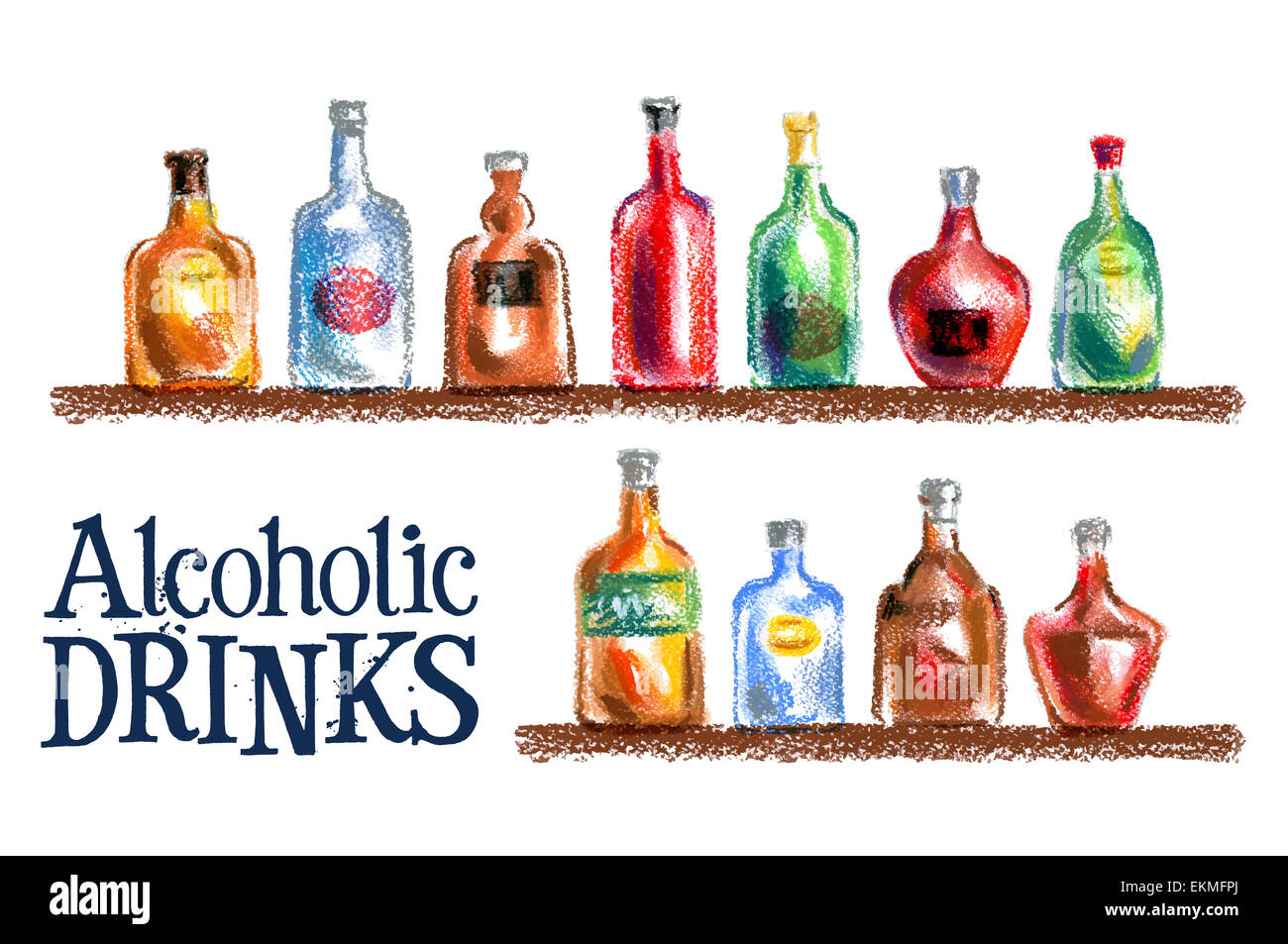 collection of bottles vector logo design template. drink or alcohol icon. - Stock Image