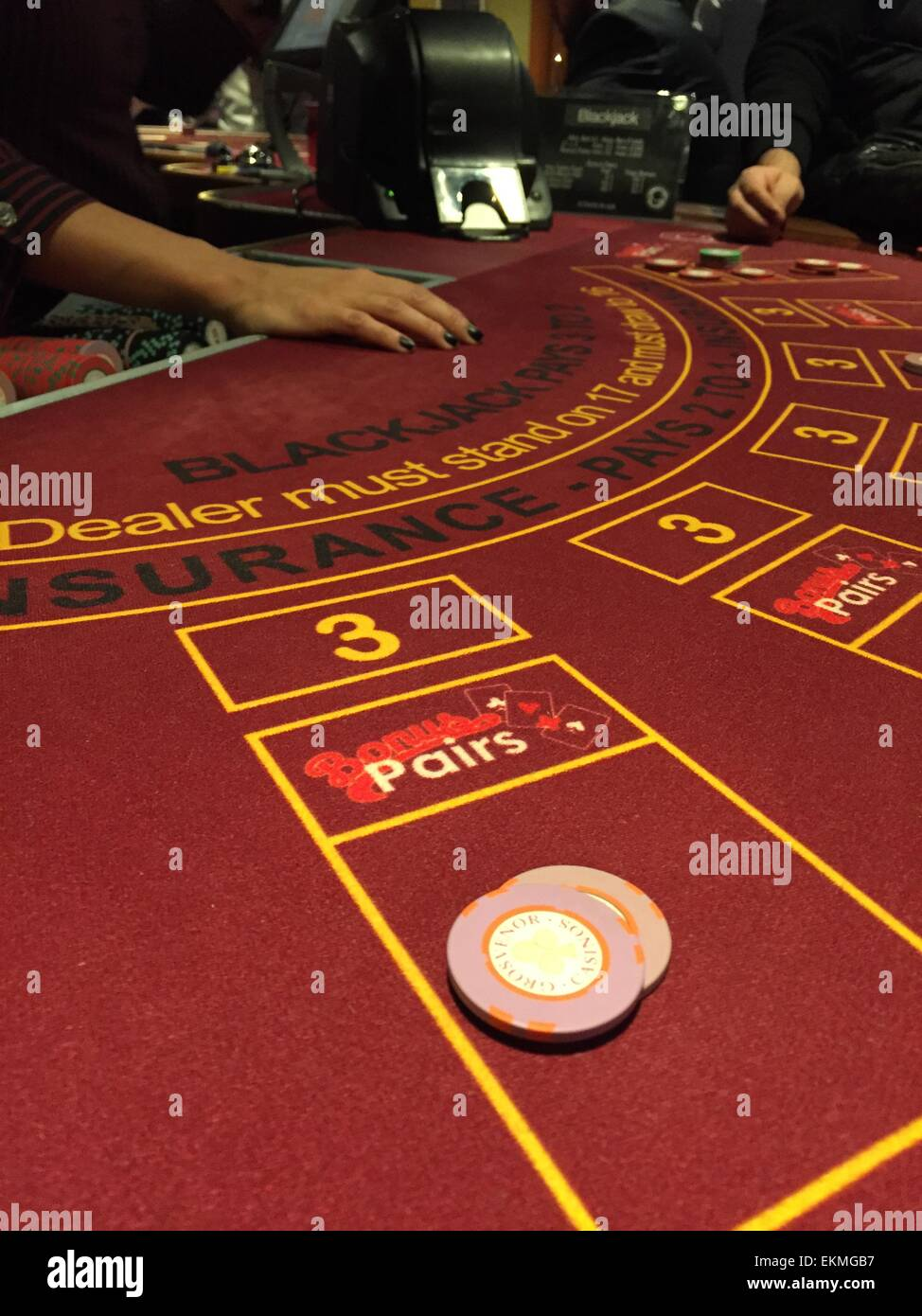 casino, blackjack table - Stock Image