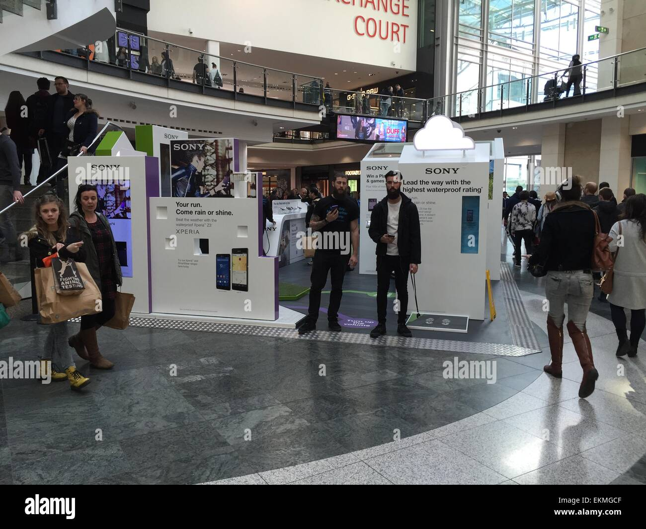 Sony exhibition in Manchester Arndale - Stock Image