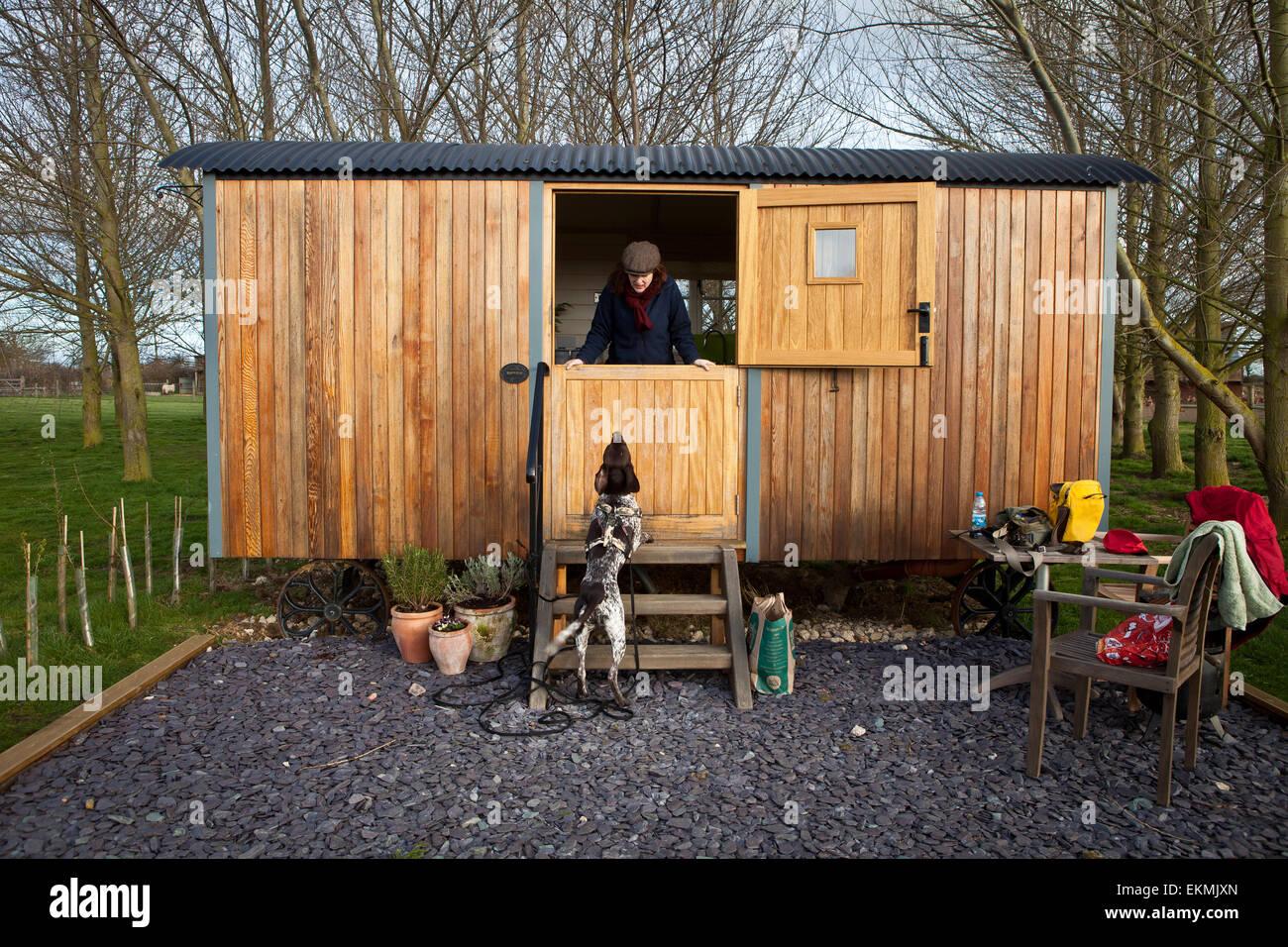 Shepherds Hut holiday - Stock Image