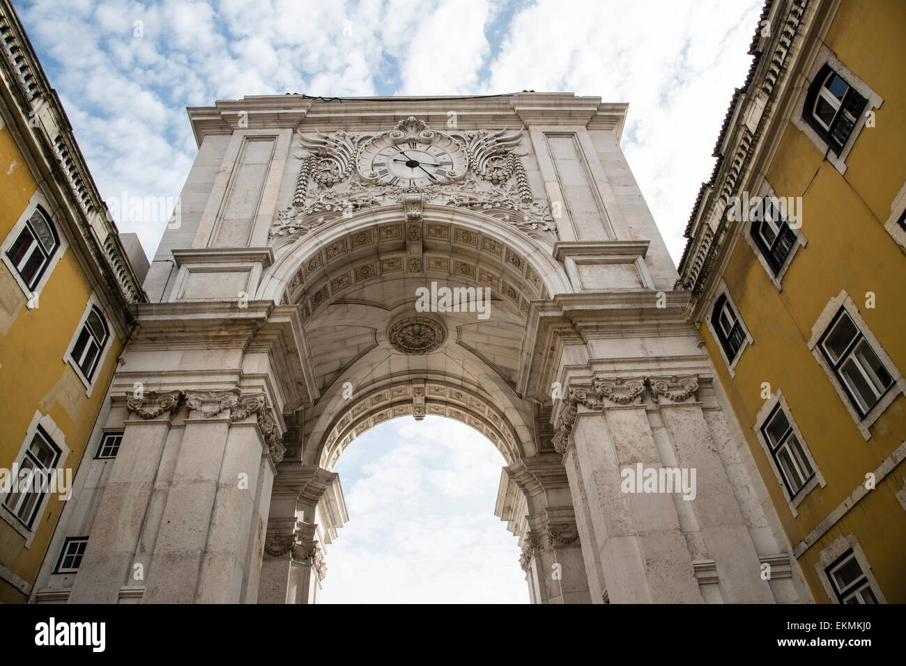 Rua Augusta Arch, Lisbon, Portugal, completed in 1873. - Stock Image