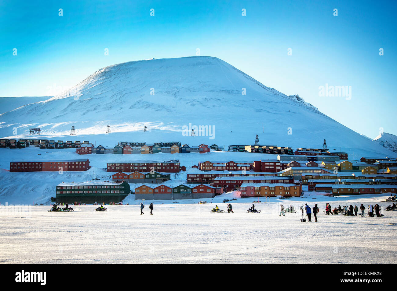 Overall view of Longyearbyen town on Spitsbergen in Svalbard,Norway prior to total solar eclipse. - Stock Image