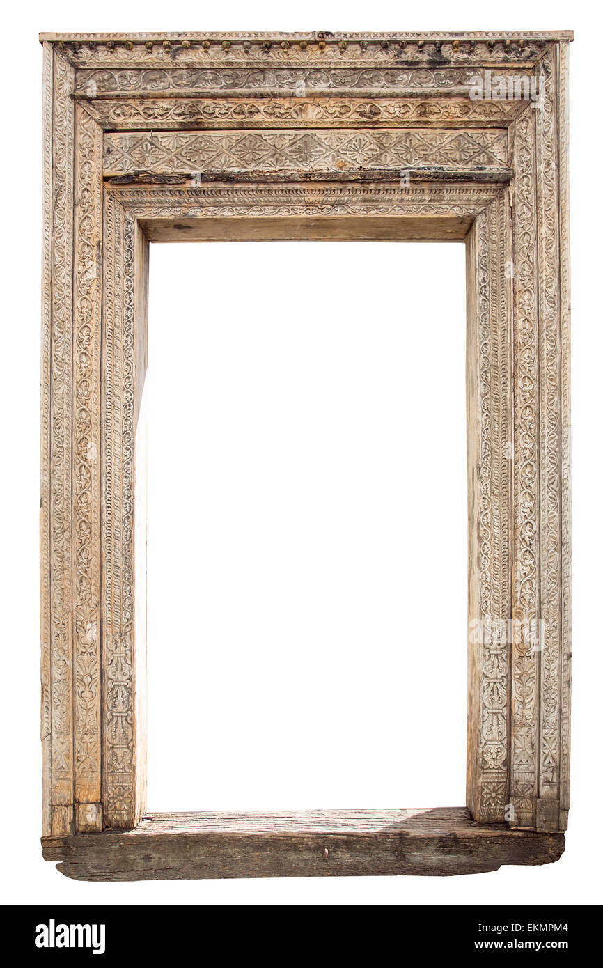 Old Weathered Carved Wooden Door Frame Isolated On White Stock Photo