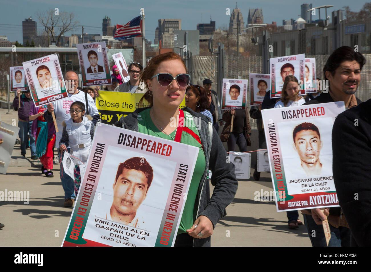 Detroit, Michigan, USA. 12th April, 2015. Demonstrators marched through Detroit's Mexican-American neighborhood - Stock Image