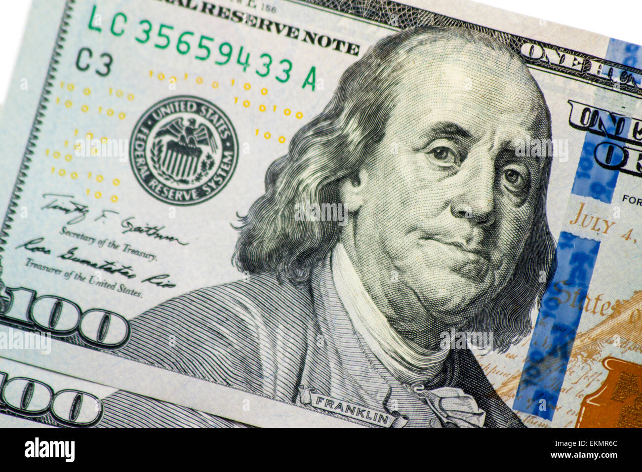 United States One Hundred dollar bills fanned out - Stock Image