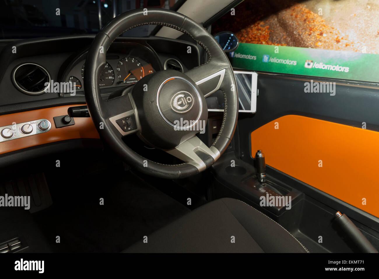 New York, NY   April 2, 2015: Interior Of Elio Electric Car On