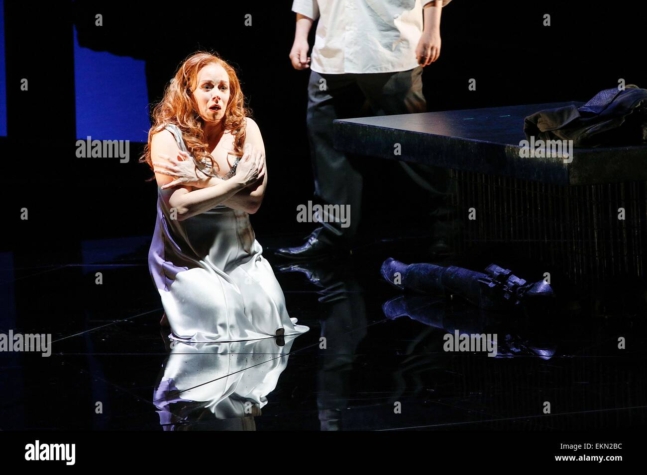 Leipzig, Germany. 7th April 2015, Elisabet Strid performs as Brünnhilde in the final dress rehearsal of Richard - Stock Image