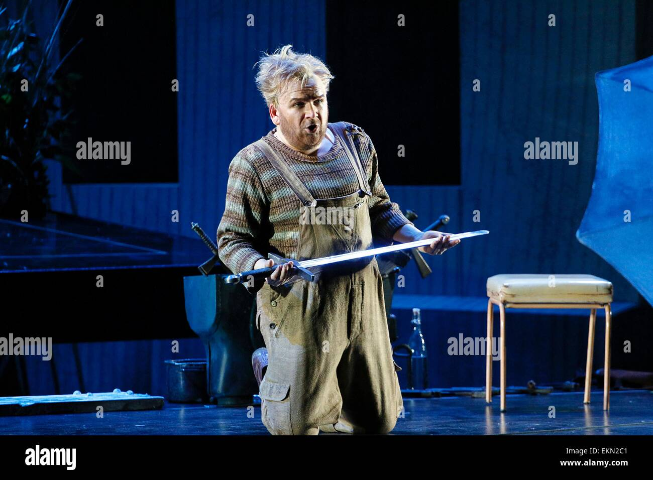 Leipzig, Germany. 7th April 2015, Christian Franz performs as Siegfried in the final dress rehearsal of Richard - Stock Image