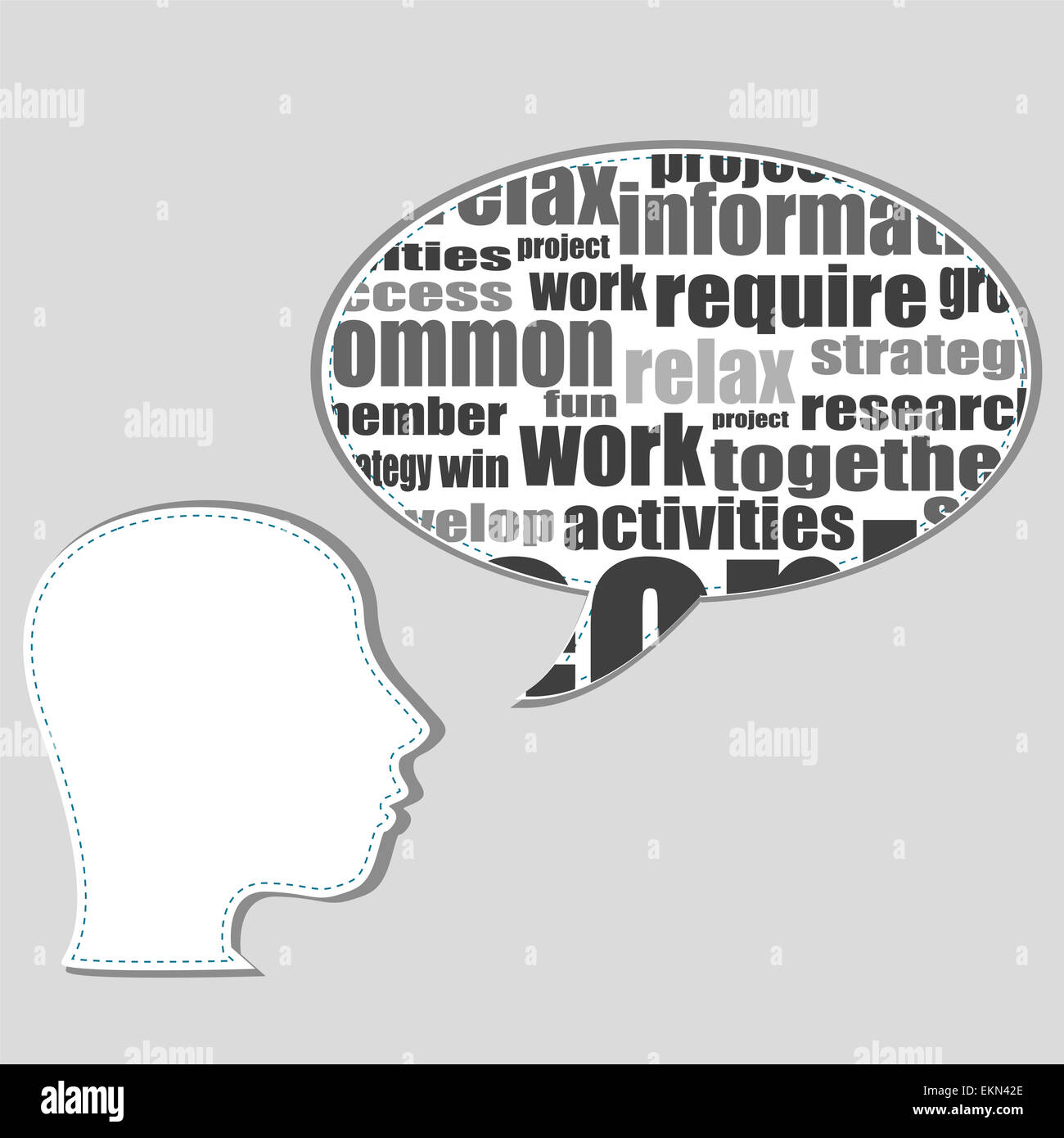 Brain training in business word collage - Stock Image