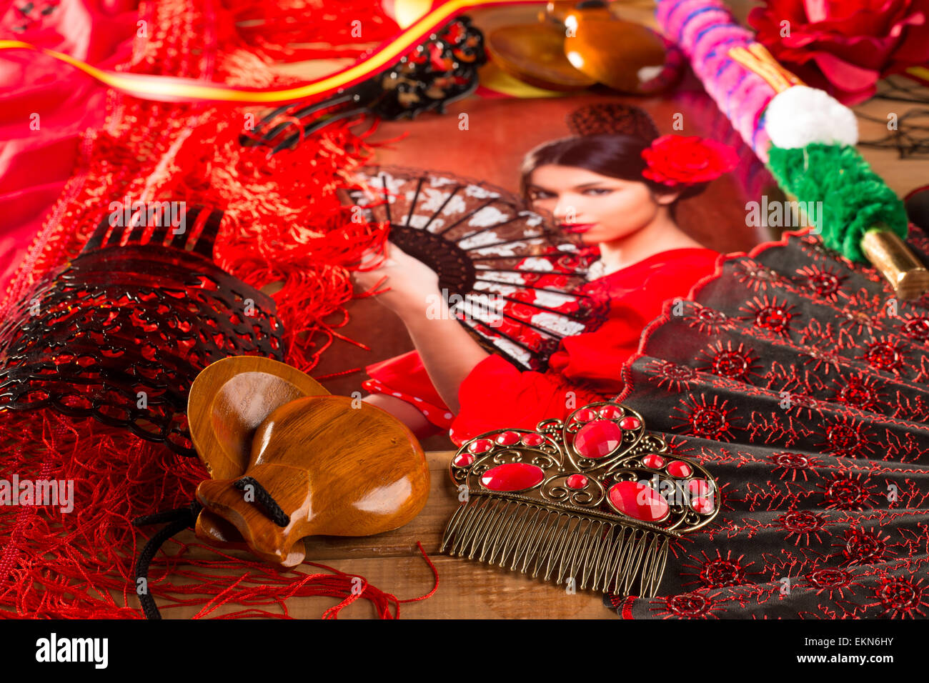 Flamenco woman with bullfighter and typical Spain Espana - Stock Image