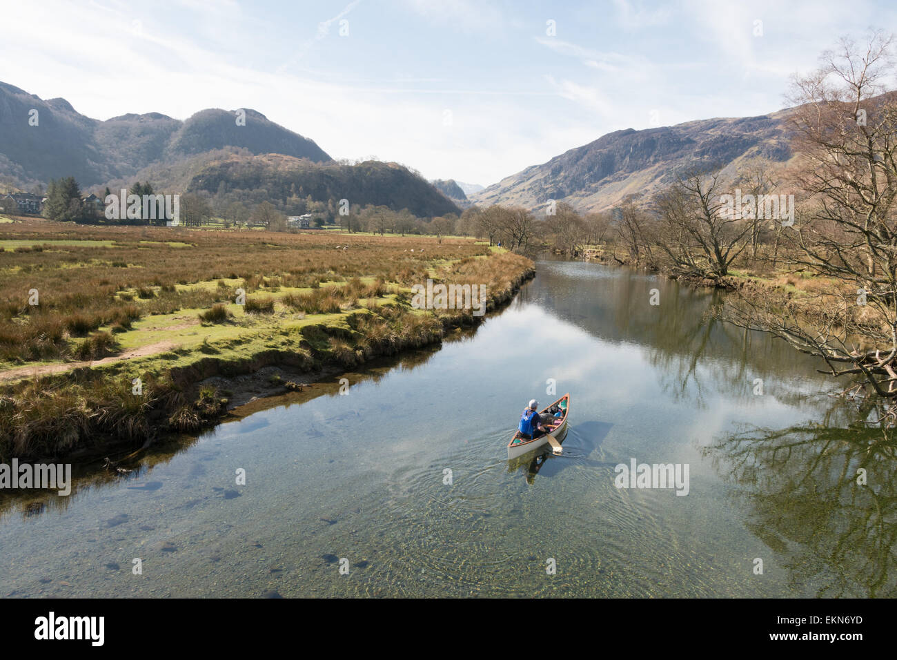 Man and dog viewed from the Chinese Bridge paddling canoe on River Derwent in Borrowdale, Lake District, England, - Stock Image