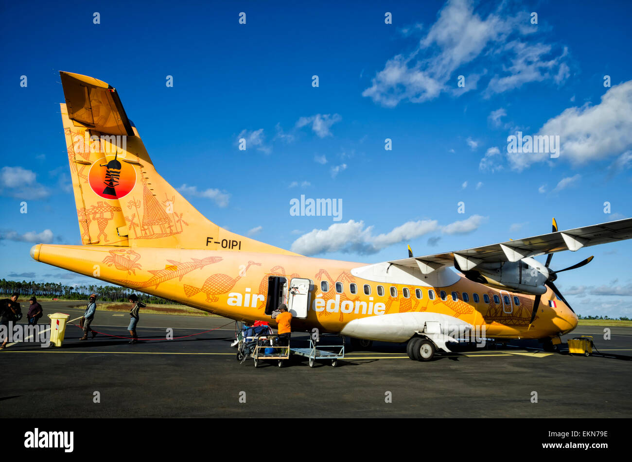 Small ATR42 turboprop airliner in a special livery celebrating indigenous New Caledonia culture. Air Caledonie; - Stock Image