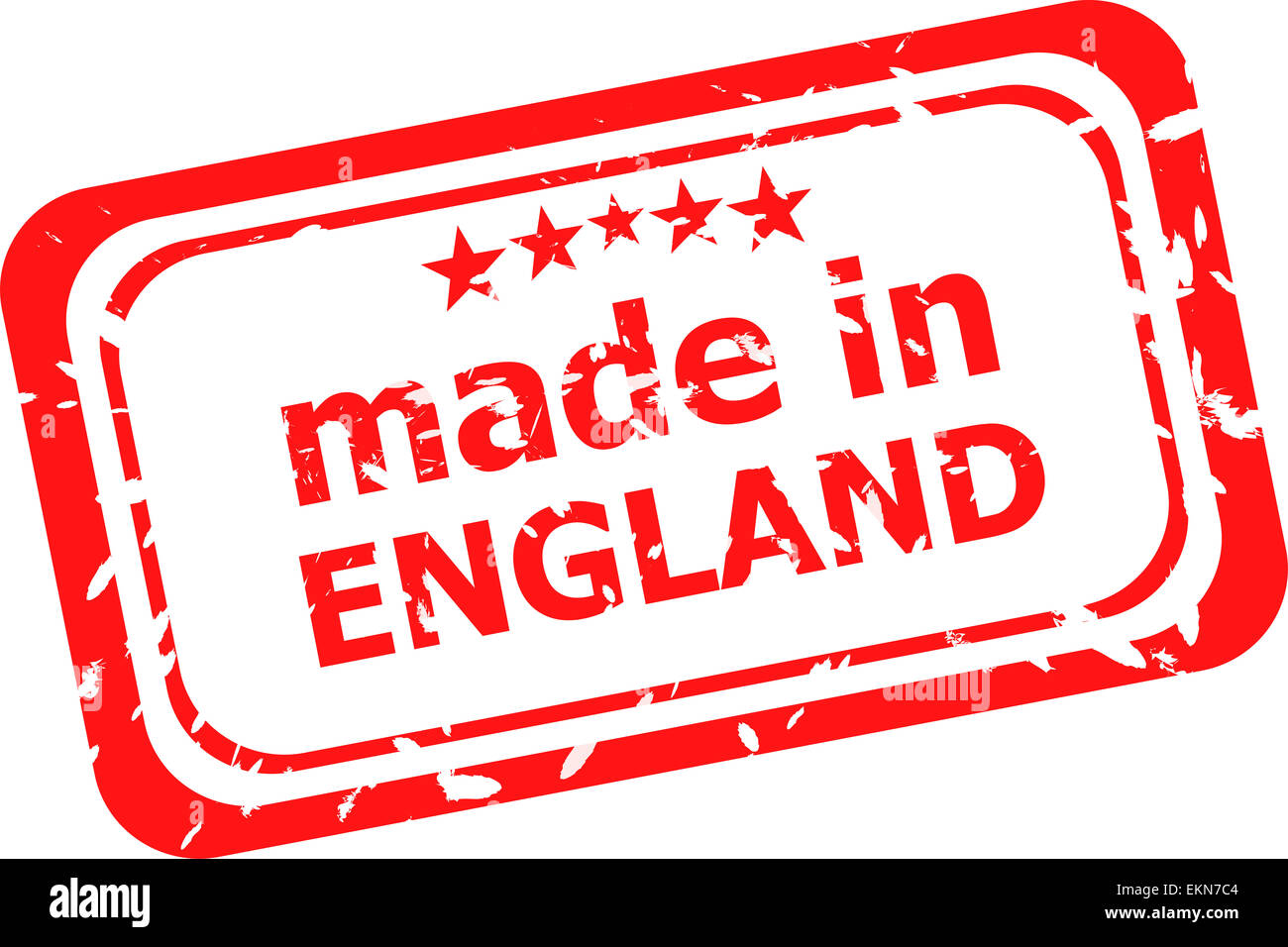 Red rubber stamp of made in england - Stock Image