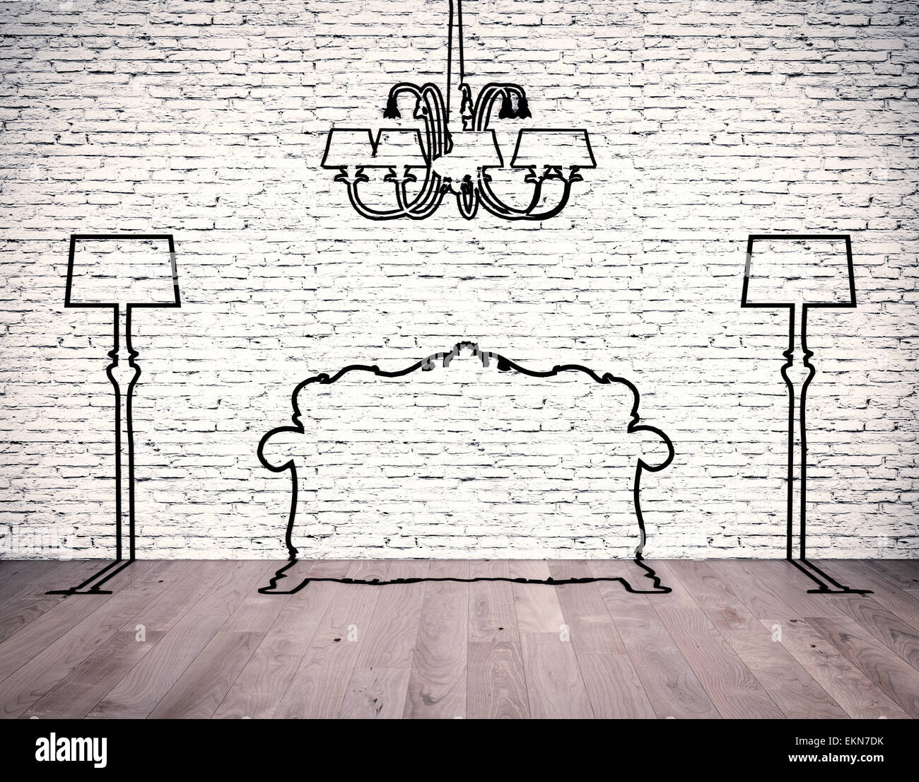silhouettes of the furniture - Stock Image