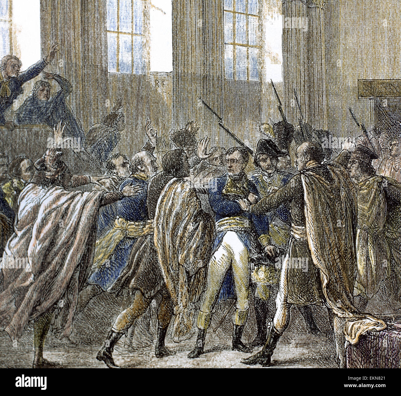 Napoleon Bonaparte (1769-1821) in the Council of Five Hundred, the lower house of the legislature of France during - Stock Image