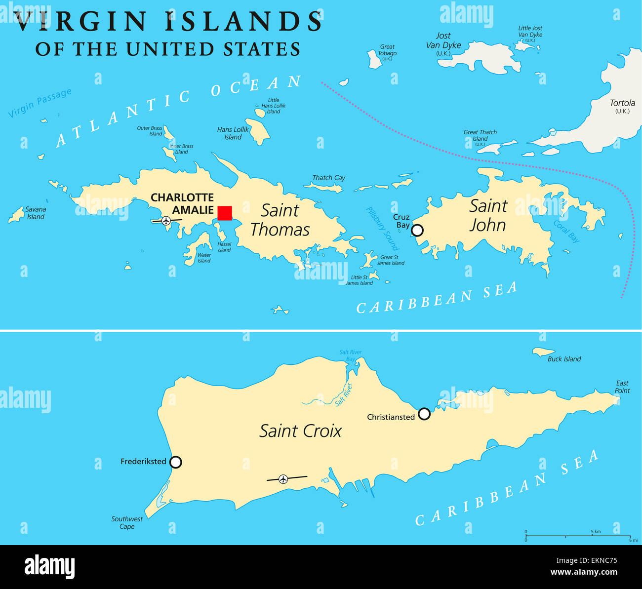 United States Virgin Islands Political Map Stock Photo: 80990537 - Alamy