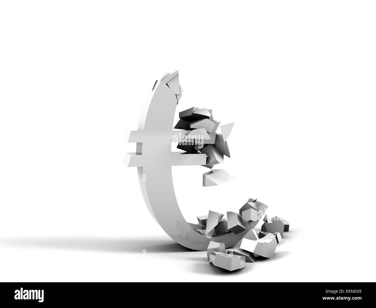 Euro Collapse - Stock Image