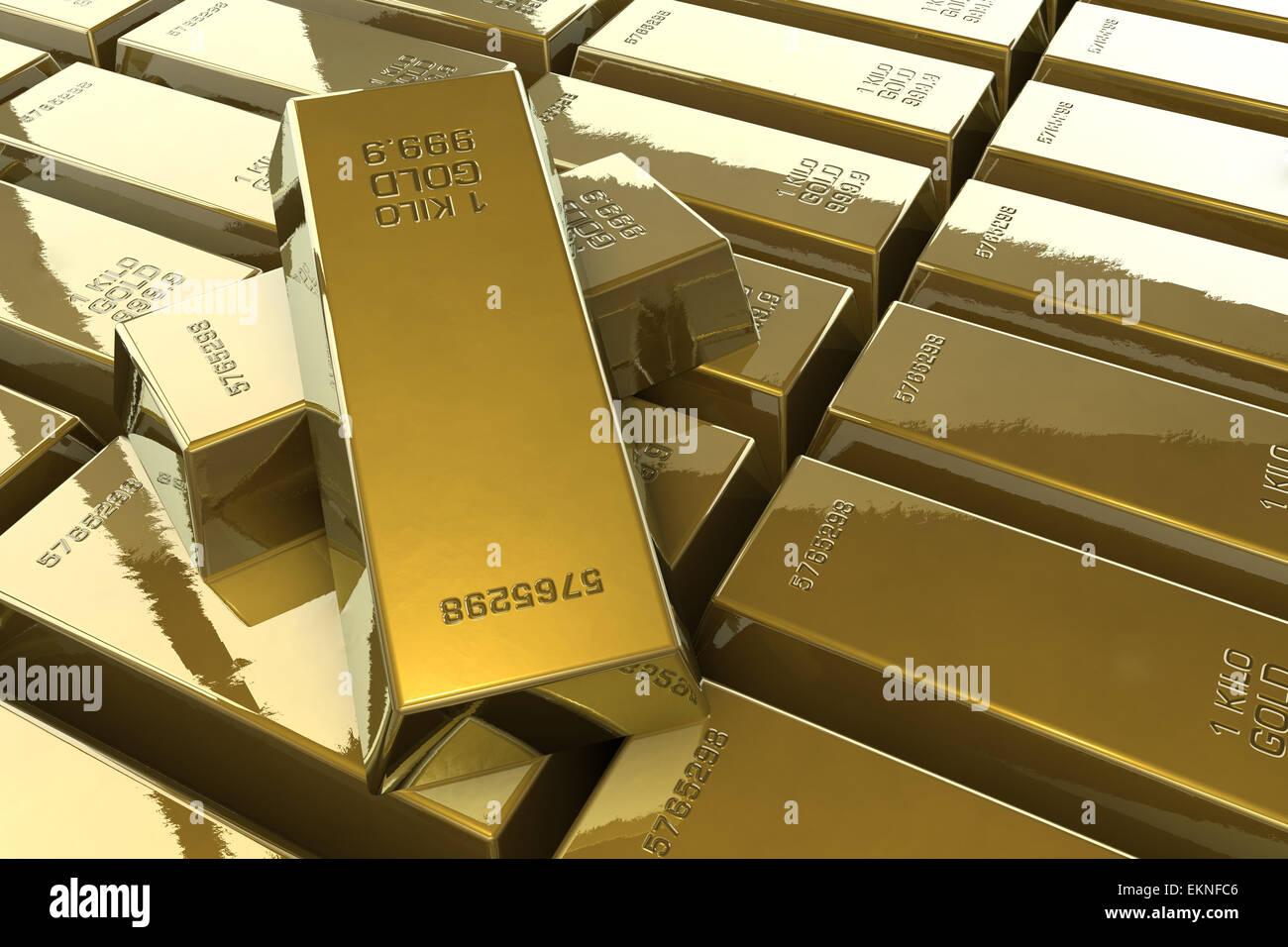Gold bars - Stock Image