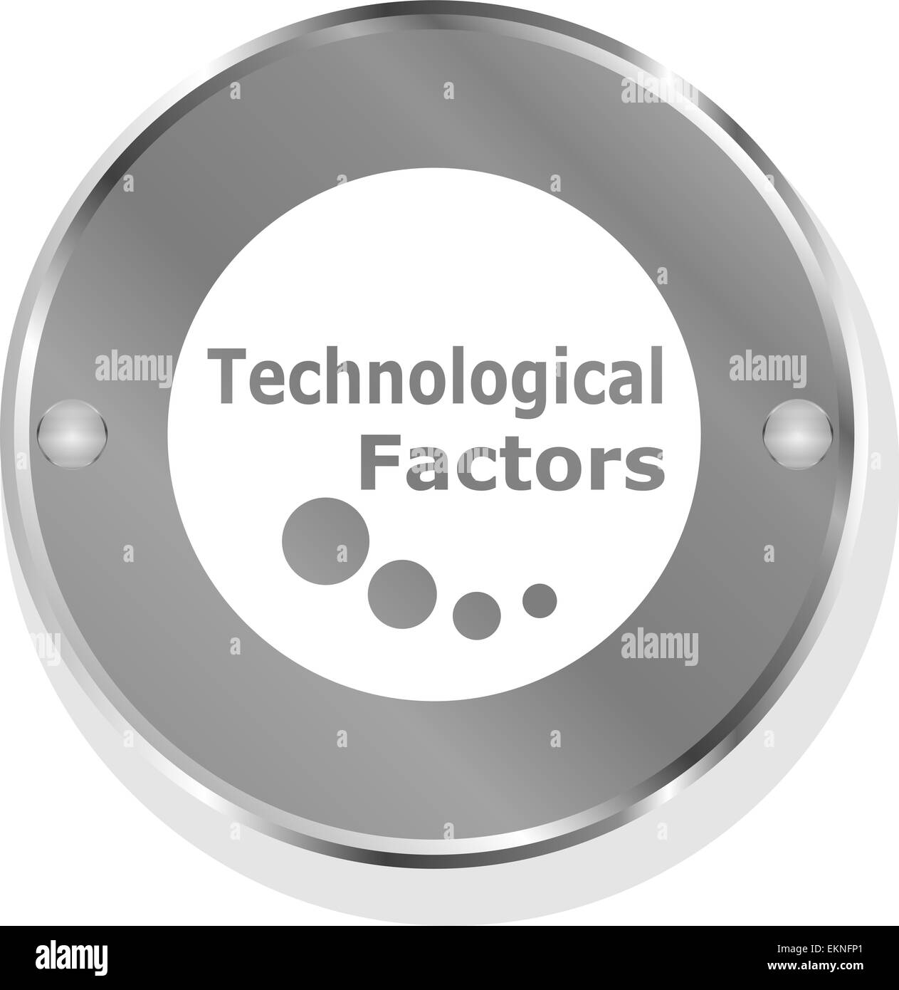 technological factors metallic button - Stock Image