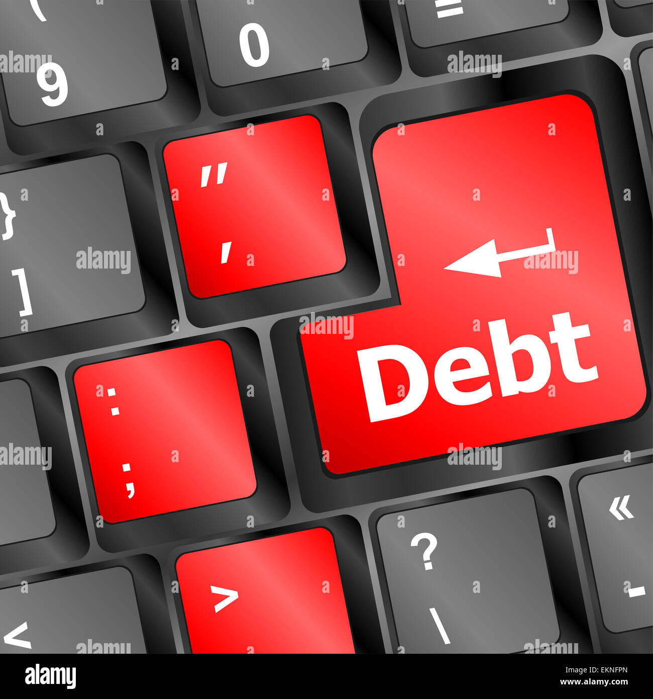 Debt red button on computer keyboard key - Stock Image