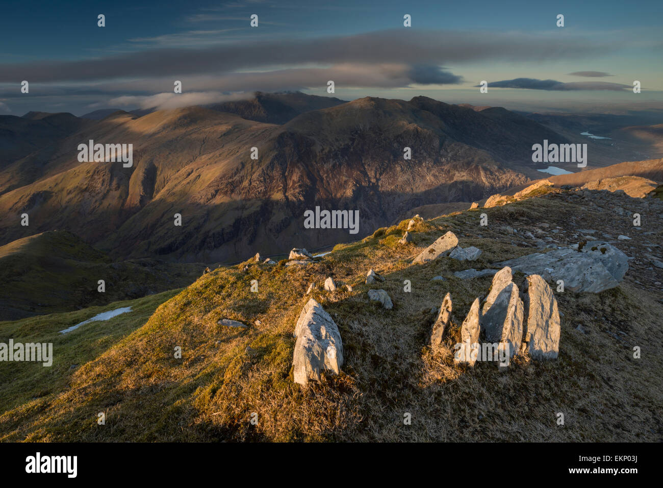 Sunsets view form Garnedd Ugain, Snowdon Massif, Snowdonia National Park, Wales, UK Stock Photo