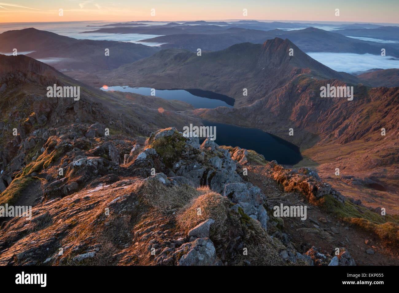 Looking down the Snowdon Massif at dawn, Snowdonia National Park, Wales, UK Stock Photo