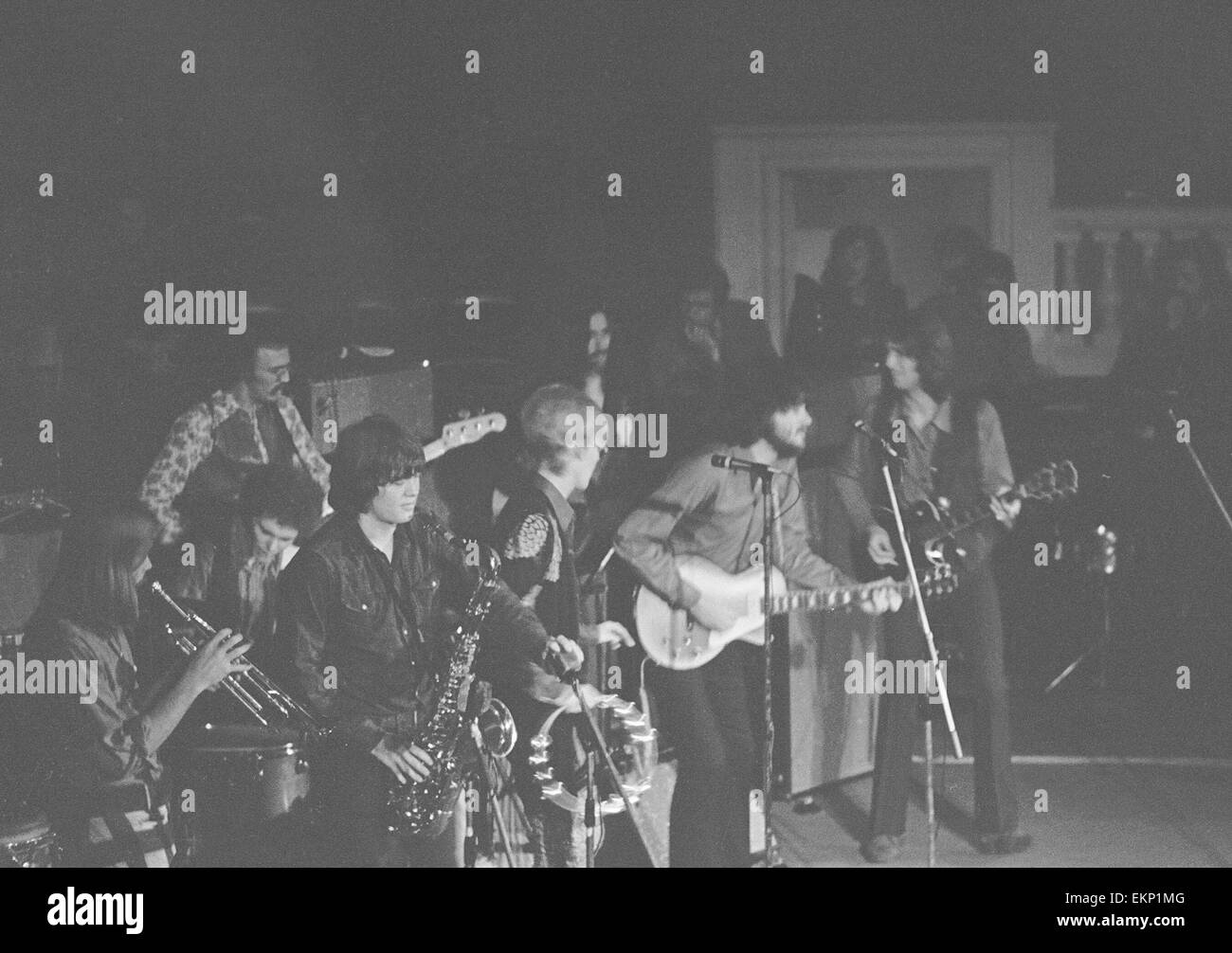 Delaney & Bonnie & Friends music concert at Birmingham Town Hall 4th December 1969. Jim Price with trumpet, - Stock Image