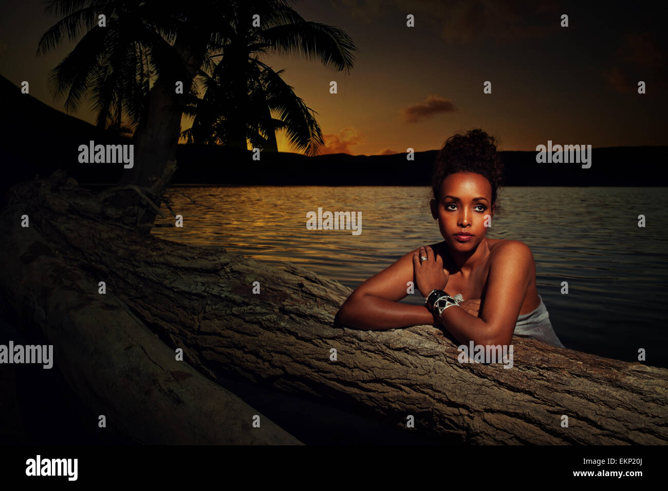Portrait of an Asian girl at sunset - Stock Image