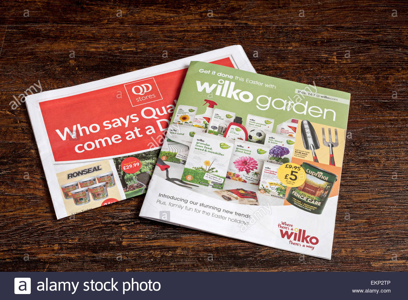 QD Stores and Wilko Garden Magazines - Budget Stores - Stock Image
