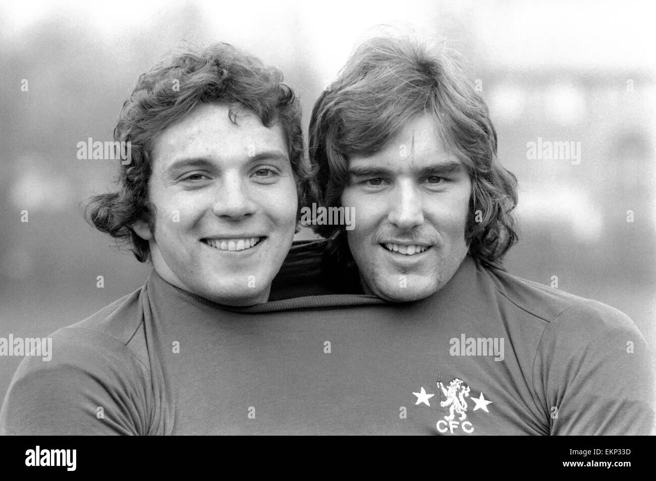 Steve Finnieston (20) striker and John Sparrow (17) defender members of the Chelsea Squad, pictured both wearing - Stock Image