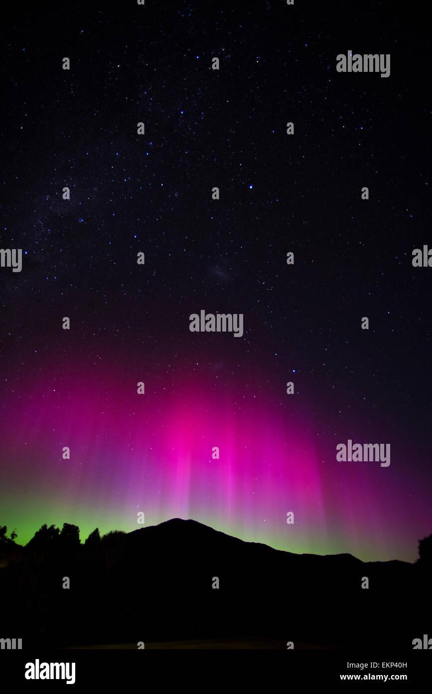 Southern Lights, Aurora Australis, at Martins Bay, Hollyford Track, south island, New Zealand. - Stock Image