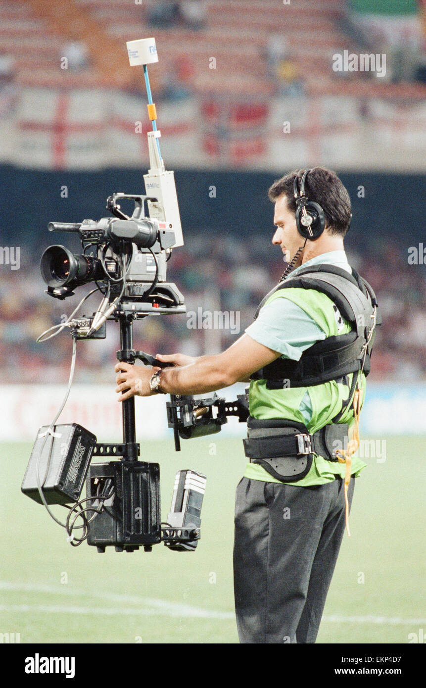 Cameraman using Steady Cam at England v Cameroon World Cup Quarter Final match at the Stadio San Paolo, Naples, - Stock Image