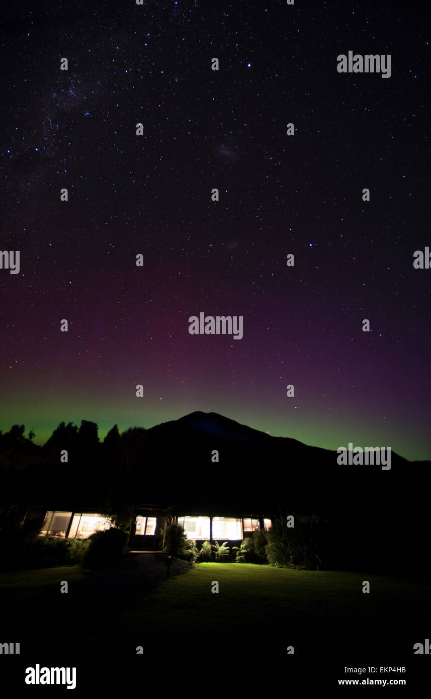 Aurora Australis at Martins Bay Lodge on the Hollyford Track, south island, New Zealand. - Stock Image