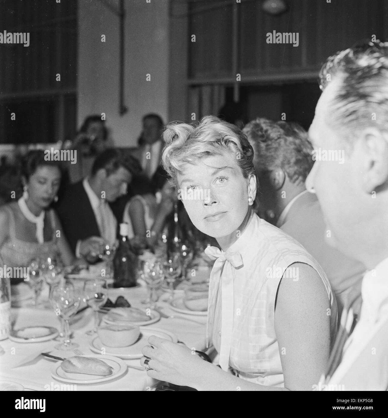 American film star and singer Doris Day photographed at the Cannes Film festival. 9th May 1955. - Stock Image