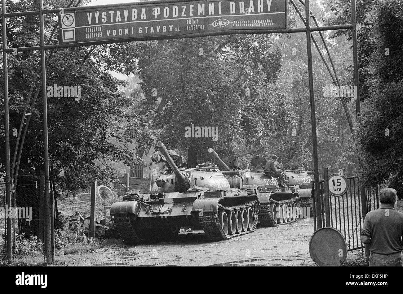 Russian T54 tanks seen here parked in a suburb of Prague following the Warsaw pact invasion of the country. The - Stock Image