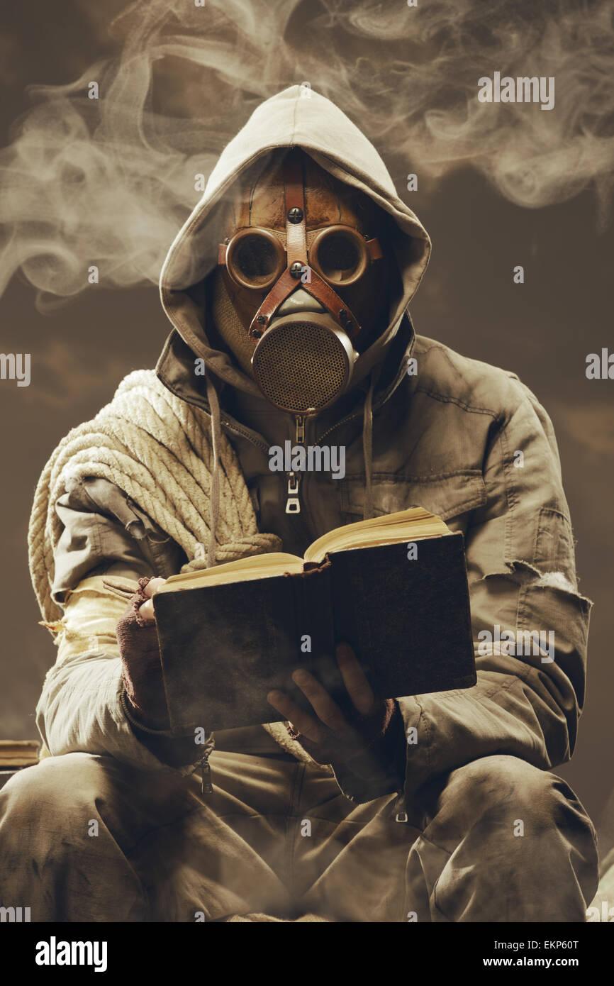 Post apocalyptic student - Stock Image