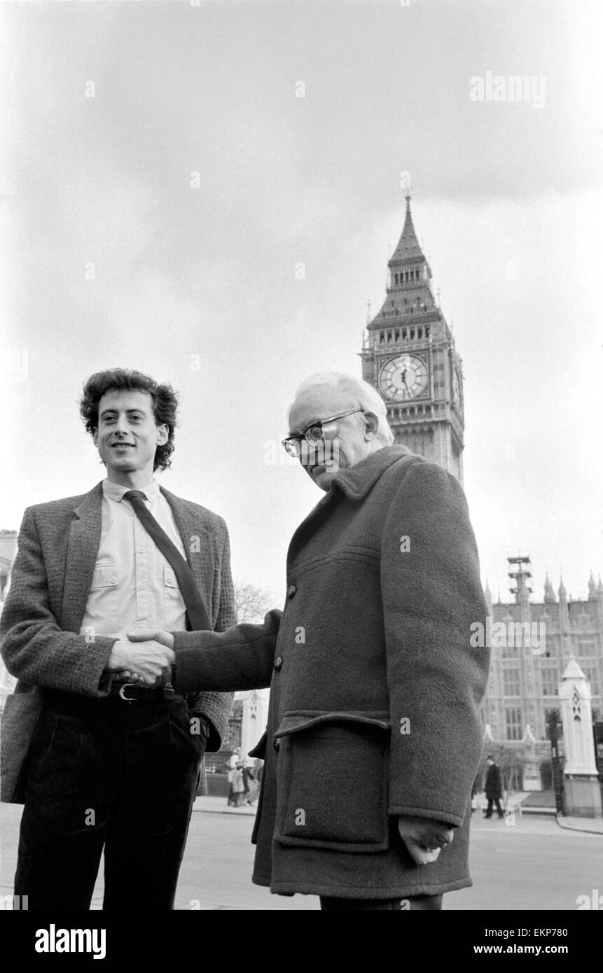 Michael Foot Labour Party leader seen here with Peter Tatchell the party's candidate in the Bermondsey by-election. - Stock Image