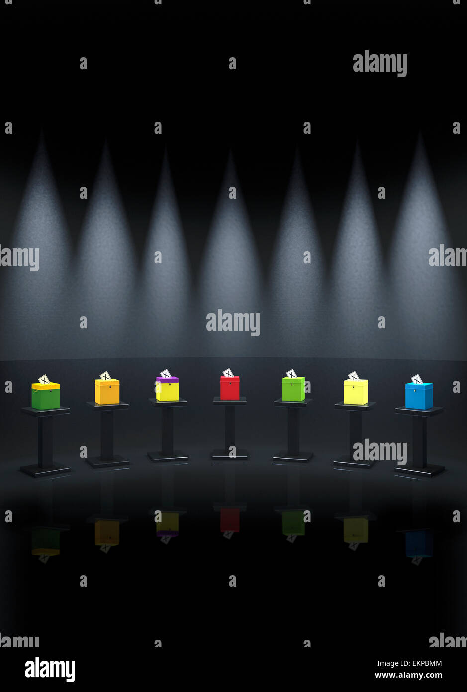 Seven Different Coloured Party Ballot Boxes On Podiums In TV Studio setting; representing British election TV debates - Stock Image
