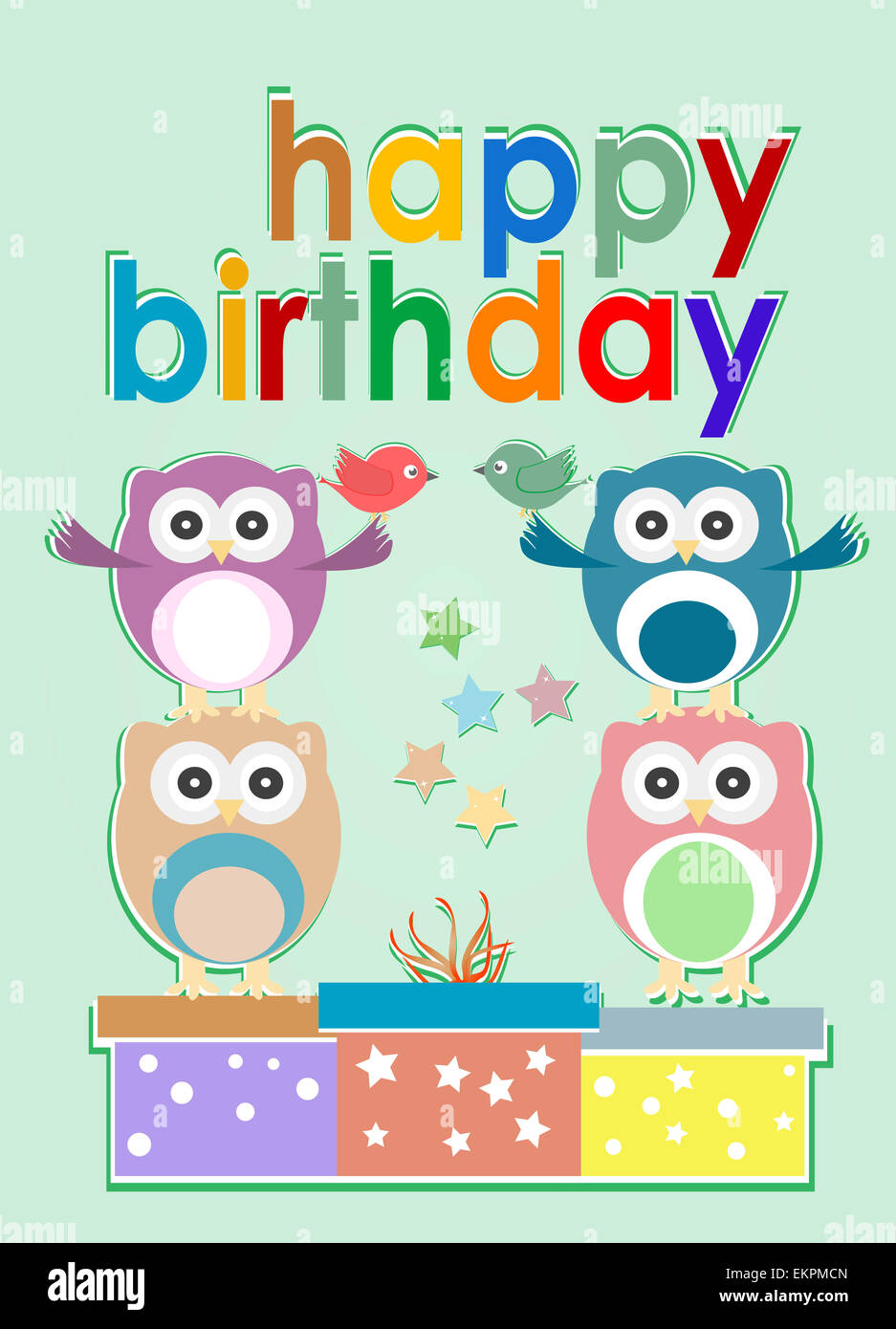 Card With Cute Owl Birds And Gift Boxes Happy Birthday Stock