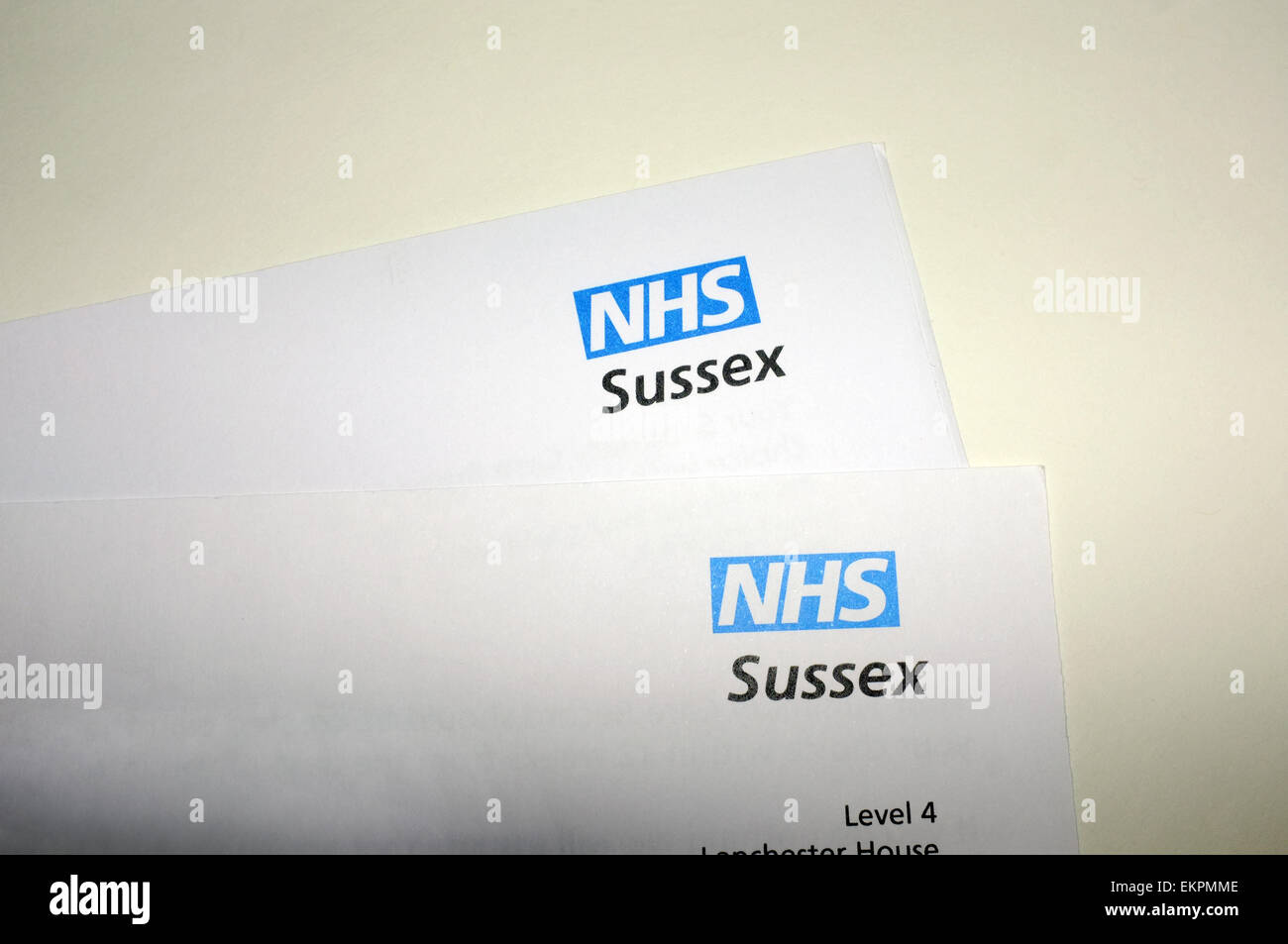 NHS (National Health Service) Sussex headed paperwork. - Stock Image
