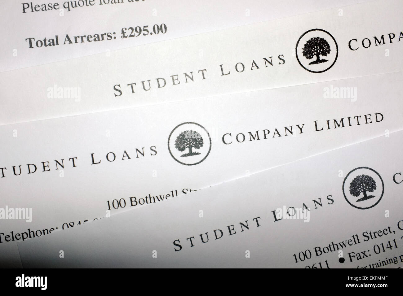 Several Student Loans letters and an arrears notification. - Stock Image